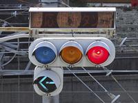 旧型のランプ式交通信号機