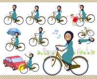 flat type Arab old women_city cycle