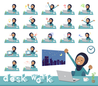 flat type Arab old women_desk work