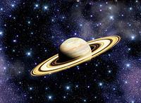 宇宙銀河と土星