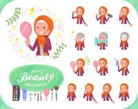 flat type Arab women orange Hijab_beauty