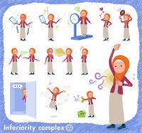 flat type Arab women orange Hijab_complex