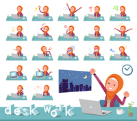 flat type Arab women orange Hijab_desk work