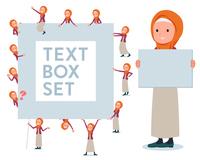 flat type Arab women orange Hijab_text box