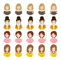 女性の表情のセット
