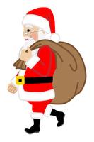 プレゼント袋を運ぶサンタクロース - 横向き