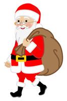 プレゼント袋を運ぶサンタクロース