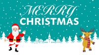 踊るサンタクロースとトナカイ - メリークリスマス