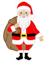 プレゼント袋を持って立つサンタクロース -正面