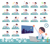 flat type White coat women_desk work