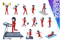 flat type school girl red jersey_exercise