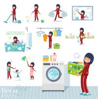 flat type school girl red jersey_housekeeping