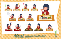 flat type school girl red jersey_Meal