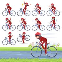 flat type school girl red jersey_road bike
