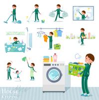 flat type school girl green jersey_housekeeping