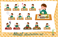 flat type school girl green jersey_Meal