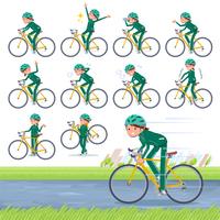 flat type school girl green jersey_road bike