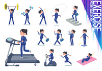 flat type school girl Blue jersey_exercise