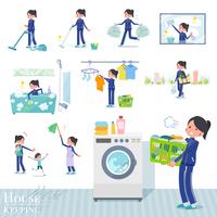flat type school girl Blue jersey_housekeeping