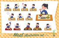 flat type school girl Blue jersey_Meal