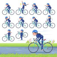 flat type school girl Blue jersey_road bike