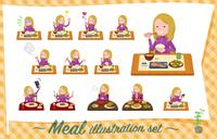 flat type school fair skin girl purple jersey_Meal