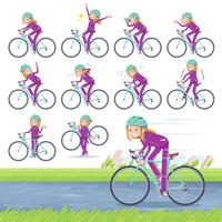 flat type school fair skin girl purple jersey_road bike