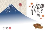 2019年 亥年 富士山と猪親子の年賀状イラスト
