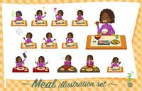 flat type school dark skin girl purple jersey_Meal