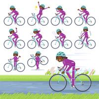 flat type school dark skin girl purple jersey_road bike