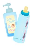 ポンプ型赤ちゃん用洗剤と哺乳瓶