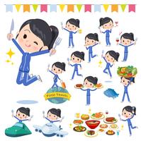 school girl Blue jersey_food festival