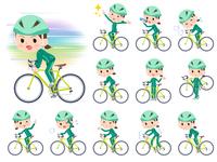 school girl Green jersey_road bike