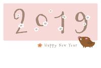 2019年 亥年 猪と梅の花の可愛い年賀状