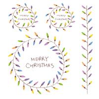 手書きのクリスマスライトのリースと罫線