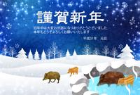 亥 雪 年賀状 背景