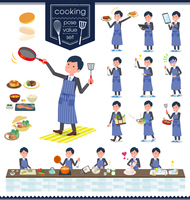 flat type Gray suit businessman_cooking