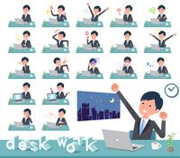 flat type Gray suit businessman_desk work
