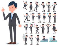 flat type Gray suit businessman_emotion