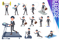 flat type Gray suit businessman_exercise