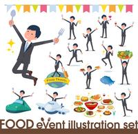 flat type Gray suit businessman_food festival