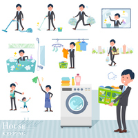 flat type Gray suit businessman_housekeeping