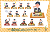 flat type Gray suit businessman_Meal