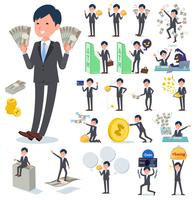 flat type Gray suit businessman_money