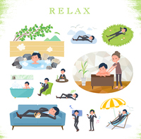 flat type Gray suit businessman_relax