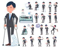 flat type Gray suit businessman_sickness