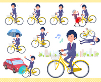 flat type blue suit curly hair men_city cycle
