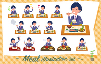 flat type blue suit curly hair men_Meal