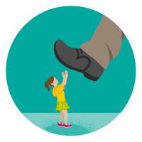 巨大な足に踏みつけられそうな女の子 児童虐待コンセプトアート