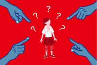 指さされる女子児童 女性差別 コンセプトアート